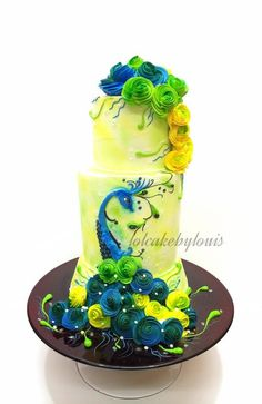 Blooming Peacock - Cake by Louis Ng Peacock Cake, Peacock Wedding Cake, Unique Wedding Cakes, Peacock Cupcakes, Peacock Theme, Gorgeous Cakes, Pretty Cakes, Cute Cakes, Amazing Cakes
