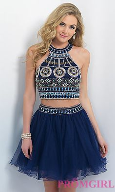 Short Two Piece Embellished Navy Dress by Blush at PromGirl.com