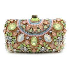 Green Crystal Beaded Woman Evening Clutch Handbags 3a462017497e