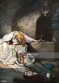Scene from Shakespeare's Romeo and Juliet. Act V, scene 3: The Death of Romeo. Illustration for William Shakespeare's tragedy Romeo and Juliet, showing Juliet waking from her faked death and finding Romeo's body. The play was first performed c1595.