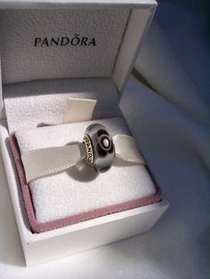 Authentic Pandora Grey Flowers For You Retired Murano Bracelet Bead/Charm FREE SHIPPING Gift Box Sold Separately