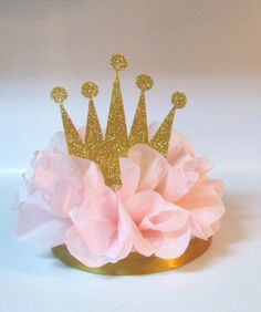 Crown Tiara Glitter Centerpiece Pink by KhloesKustomKreation, $12.00