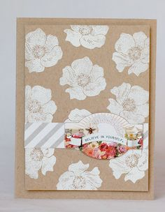 card by Anabelle O'Malley...white embossed stamped background on kraft