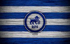 Download wallpapers RFS FC, 4k, soccer, Latvian football club, logo, SynotTip Virsliga, FK RFS, Latvia, football, wooden texture, FC RFS