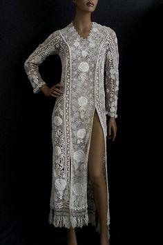 Irish Crochet Lace Dress  1910  Vintage Textile