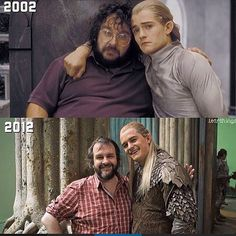 Peter Jackson and Legolas. Orlando bloom. From Lotr to Hobbit how cute.