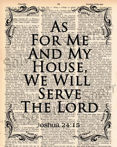 Vintage Dictionary Bible Verse - As For Me and My House... Joshua verse - plus FREE 5x7 monogram. $8.00, via Etsy.