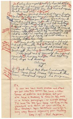 Found love letters from the mid 20th century, given to contemporary English professors to correct for grammar, spelling, form and style.