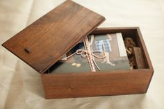 Beautifully Handcrafted Rustic Wooden Box that fits 4x6 prints & USB.