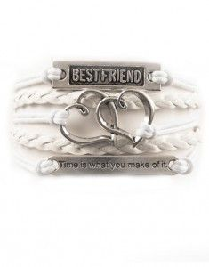 """Show off bestie style with this best friends bracelet. With """"time is what you make of it,"""" quoted along the front with large double hearts and a best friend charm, give as a gift or match with your BF"""