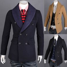 Double Breasted Unique Collar Design Mens Wool Coat | Sneak Outfitters