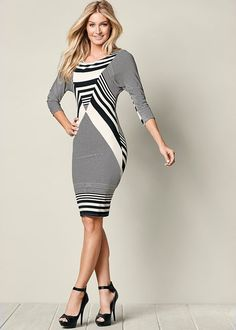 Front view Stripe Detail Dress