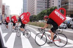 Hitting the streets with guerilla marketing | Nescafé #cyclist with special backpacks in the streets #campaign #creative #guerillamarketing #marketing