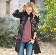"Worldly-wise traveler, sure way to dress up jeans. Our charcoal French terry coat zips up the front, embellished on front, back and sleeves with embroidered flowers. On-seam pockets. Cotton/spandex. Machine wash. Imported. Exclusive. Sizes XS (2), S (4 to 6), M (8 to 10), L (12 to 14), XL (16). Approx. 36""L."