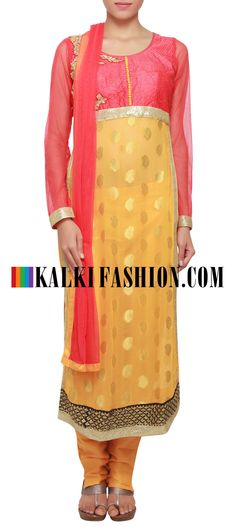 Buy Online from the link below. We ship worldwide (Free Shipping over US$100) http://www.kalkifashion.com/straight-fit-suit-in-yellow-adorn-in-kardana-embroidery-only-on-kalki.html