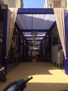 Indian street wedding truss mandap Wedding Gate, Wedding Entrance, Wedding Mandap, Entrance Decor, Outdoor Wedding Decorations, Backdrop Decorations, Drink Bar, Mandap Design, Wedding Ceremony Pictures