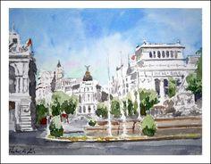 Plaza de Cibeles, Madrid, acuarela 20x25 cms