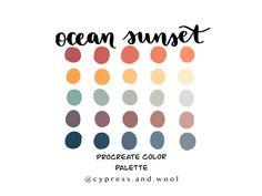 Ocean Sunset color palette procreate palette procreate | Etsy Ocean Color Palette, Ocean Colors, Sunset Colors, Colour Pallette, Color Combinations, Room Color Schemes, Ocean Sunset, Colour Board, Color Swatches