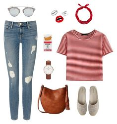 """Woman on red"" by galihmulyanita on Polyvore featuring WithChic, Frame Denim, Lands' End, Gabriella Rocha, Moschino, New Look, Daniel Wellington and Christian Dior"