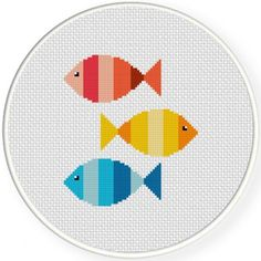 Colorful Fishies Handmade Unframed Cross by CustomC .-Buntes Fishies handgemachtes ungerahmtes Kreuz durch CustomCraftJewelry Items… Colorful Fishies Handmade Unframed Cross by CustomCraftJewelry Items available at Etsy Store - Cross Stitching, Cross Stitch Embroidery, Embroidery Patterns, Modern Cross Stitch Patterns, Cross Stitch Designs, Kids Room Wall Art, Room Art, Cross Stitch Animals, Fabric Crafts