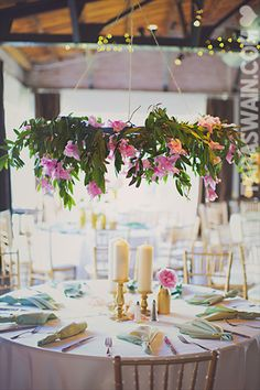 Birds of a Feather Events - Dallas/Fort Worth - hanging centerpiece - pink gladiolas - halo centerpiece