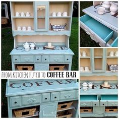 Outdated Hutch to Coffee Bar - let me show you how easy it is to transform an outdated buffet and hutch into this light, bright and functional piece!  DIY beautify