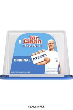 10 Under-$20 Ways to Get Your Home Cleaner and Tidier for Cheap | Want to make your home look cleaner by spending just 30 minutes and $10? Order a pack of Mr. Clean Magic Erasers. Use one cleaning pad to buff away any marks or scuffs on the walls and furniture around your home. #declutter #organizationtips #realsimple #declutterideas #howtoclean #homeorganization