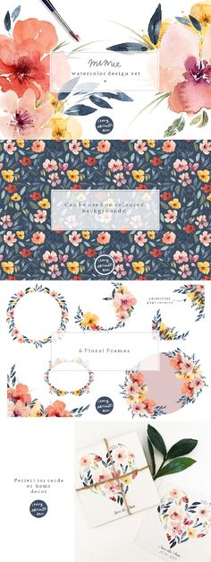 This pack includes individual floral elements that have been hand painted using watercolours. They could be used to created Wedding Invitations, Greeting Cards, Wrapping Paper, Bags and much more!The set includes ready made floral arrangements, ready made floral frames, a seamless pattern as well as all the individual elements for you to make your own arrangements and patterns.