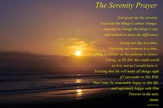The Serenity Prayer set against a beautiful Sunset. Photography by Terrie Heslop