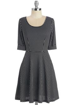 Outstanding Instincts Dress. When it comes to creative decision-making, your hunches always lead to remarkable choices such as this black white-dotted dress.  #modcloth