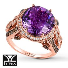 A round Hard Candy Amethyst™ gives this ring from Le Vian® amazing color. Vanilla Diamonds® encircle the center and decorate the 14K Strawberry Gold® band, joined by Chocolate Diamonds® above and below. The ring has a total diamond weight of 7/8 carat. Le Vian®. Discover the Legend. Diamond Total Carat Weight may range from .83 - .94 carats.  Gently clean by rinsing in warm water and drying with a soft cloth.