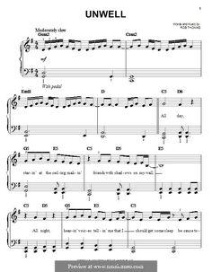Unwell (Matchbox Twenty): For easy piano by Rob Thomas