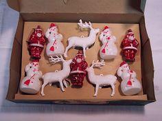 Vintage 1950's Hard Plastic Snowmen, Reindeer, and Santa in Original Box | eBay
