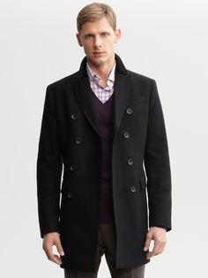 #BRAnnaK #BananaRepublic | Black wool-blend double-breasted coat