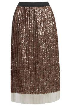Sequin Pleated Midi Skirt