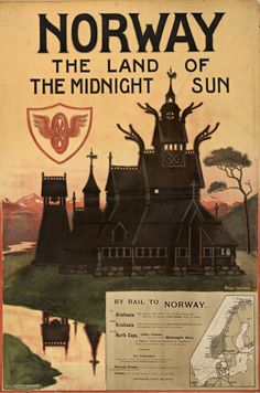 Norway Poster: Norvège le soleil de minuit Artist: Othar Holmboe Publisher: Norwegian State Railways (NSB) Printed by: Aktietrykkeriet, Trondheim Vintage Travel Posters, Vintage Ads, Retro Poster, Poster Poster, Tourism Poster, Norway Travel, Travel Europe, Midnight Sun, Travel Posters