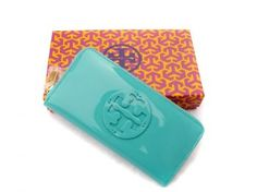 Tory Burch Patent Zip Continental Wallet Robin Egg Blue