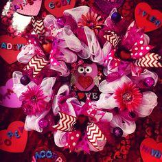 Valentine's day deco mesh owl wreath for Jude's teacher Mrs.Williams! 2014