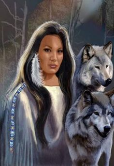 .beautiful princess maiden and her wolves art.