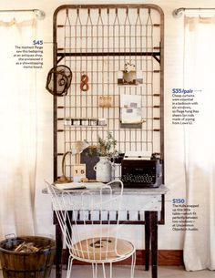 What a fun space to use as a home office! Love those old bed springs to hang things on. Old Bed Springs, Mattress Springs, Mattress Frame, Box Springs, Crib Mattress, Crib Spring, Old Beds, Shabby Chic, Home And Deco