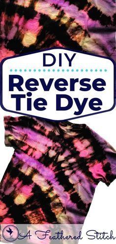 Bleach Tie Dye Discover Reverse Tie Dye Tutorial Try out this fun and different way to tie dye your shirts! Reverse tie dye uses a dark colored shirt some bleach and your creativity. Fête Tie Dye, Tie Dye Party, Bleach Tie Dye, How To Tie Dye, Tie And Dye, How To Dye Fabric, Easy Diy Tie Dye, Bleach Dye Shirts, Reverse Tie Dye