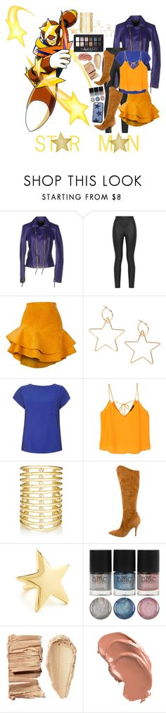 """""""Star Man"""" by sydsydrox ❤ liked on Polyvore featuring Roberto Cavalli, Armani Jeans, Siobhan Molloy, Dorothy Perkins, MANGO, Maybelline, Jules Smith, Kenneth Jay Lane, Wildflower and yellow"""