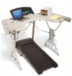 TrekDesk Treadmill Desk  I seriously really want this desk! I used to have a standing desk that would convert from standing to sitting at times LOVED it! And I had a make shift treadmill desk at my home. Best thing EVER!