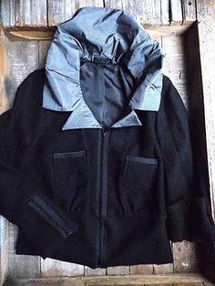 C'est Atelier Jacket Size Medium Black Wool Zip Up Boutique Wide Collar Coat #cestatelier #BasicCoat