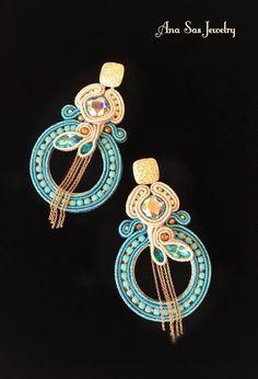 Soutache Earrings, Shibori, Beaded Embroidery, Handmade Jewelry, Beads, Earrings, Accessories, Soutache Jewelry, O Beads