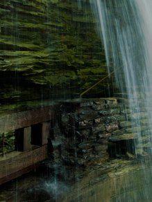 Walkway behind the waterfall at Watkins Glen Gorge. Photo by Gabriela LeBaron
