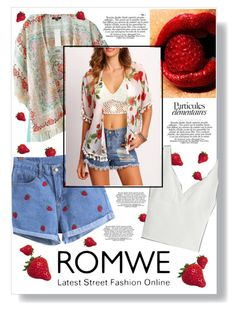 """Strawberry Shorts and Kimono"" by fernshadowstudio-com ❤ liked on Polyvore"