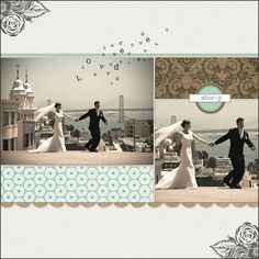 #papercraft #scrapbook #layout #wedding multiple cute ideas from this layout... 1- nice color scheme, 2- include a photo and then a zoomed in version of the same photo, 3- the letters that appear to be blowing away from the photo (especially if it's a photo taken outside)