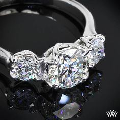 """The ultimate triple threat, White Gold """"W-Prong"""" 3 Stone Engagement Ring"""