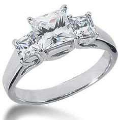 Pompeii3 Inc.- -1.25CT SI 3 Stone Princess Cut Diamond Engagement Ring